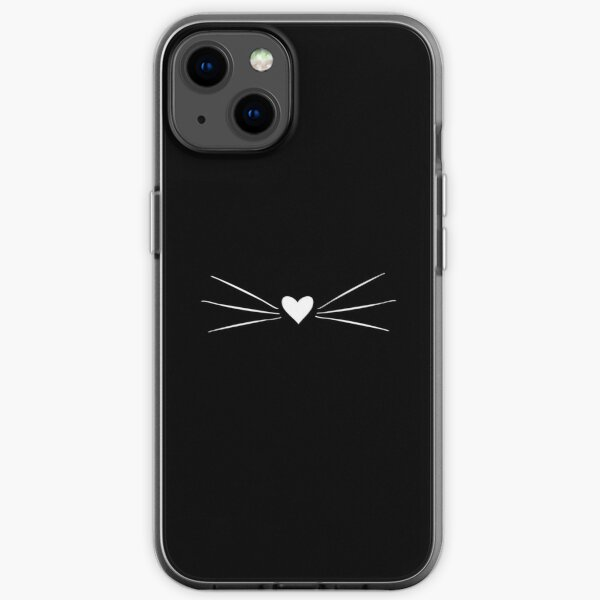 White Cat Heart Nose & Whiskers iPhone Soft Case