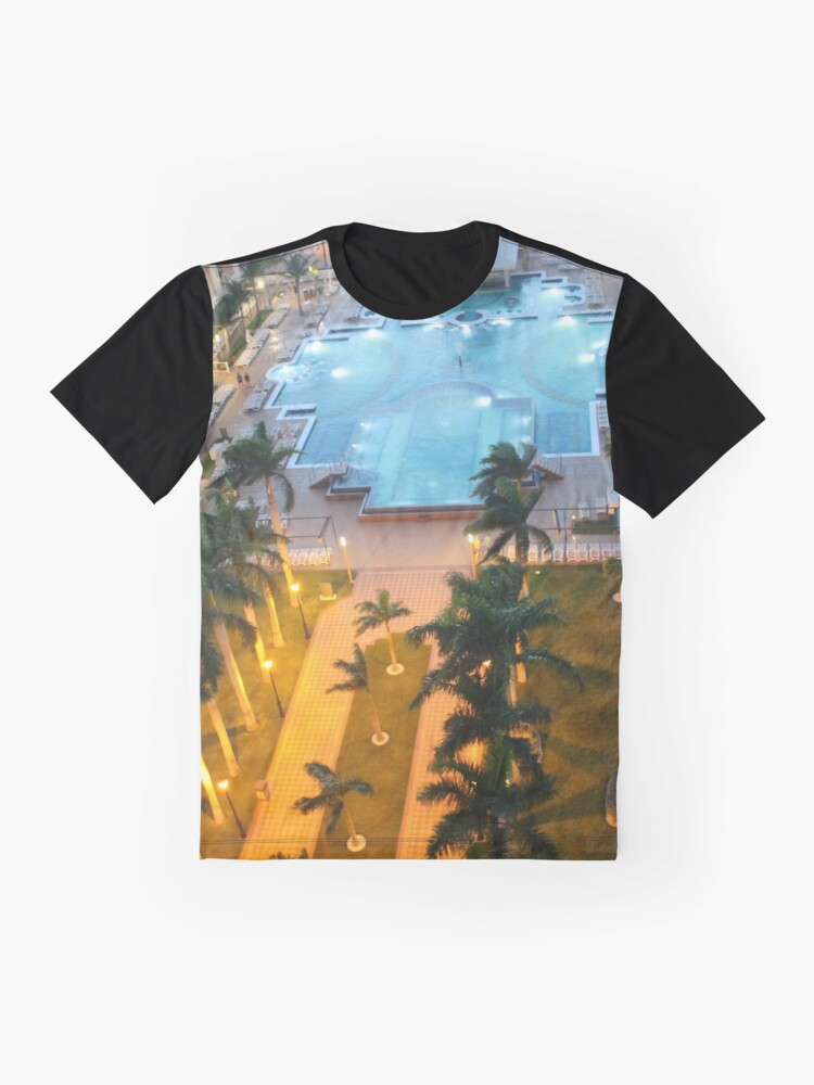 Alternate view of Aruba, resort, spa, health resort, 2017, pool, palm trees, hotel building Graphic T-Shirt