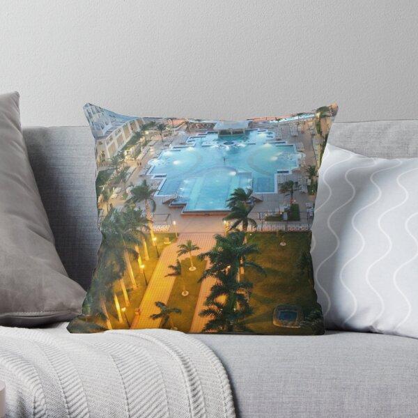 Aruba, resort, spa, health resort, 2017, pool, palm trees, hotel building Throw Pillow