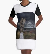 Cat walking the fence. Graphic T-Shirt Dress