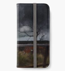 Cat walking the fence. iPhone Wallet/Case/Skin