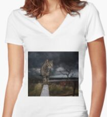 Cat walking the fence. Women's Fitted V-Neck T-Shirt