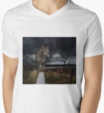 Cat walking the fence. Men's V-Neck T-Shirt