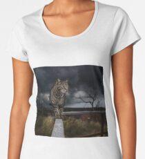 Cat walking the fence. Women's Premium T-Shirt