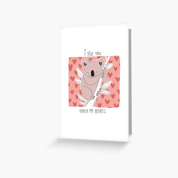 je te donne koala mon coeur Saint Valentin calembour Carte de vœux
