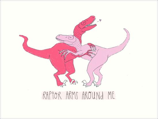 Raptor Arms Around Me Funny Dinosaur Pun Valentines Day Design Art