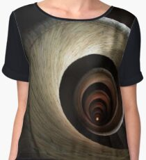 A top view of a spiral staircase that goes down, spiraling along the walls of an endless circular tunnel Chiffon Top