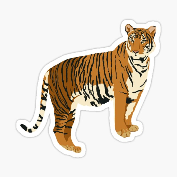 Realistic Tiger on White Background Sticker
