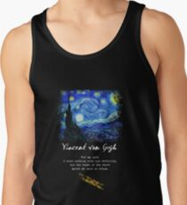 "Vincent Van Gogh ""Starry Night"", Poem / Quote, Signature. Tank Top"
