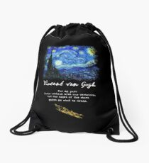 "Vincent Van Gogh ""Starry Night"", Poem / Quote, Signature. Drawstring Bag"