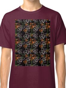 purple and orange watercolor orchids Classic T-Shirt