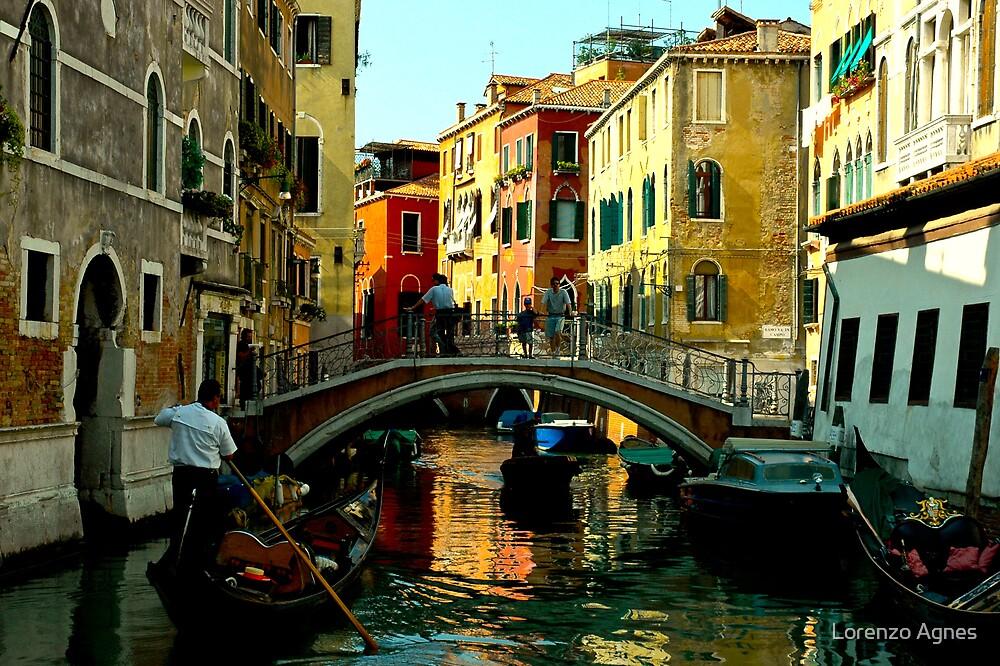 Venice Gondola & Footbridge Water View by zodezine