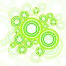 Neon Grüne Kreise Retro Muster von germanX