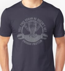Tell This Vegan About Protein Elephant - Funny Veganism Quote Gift Unisex T-Shirt