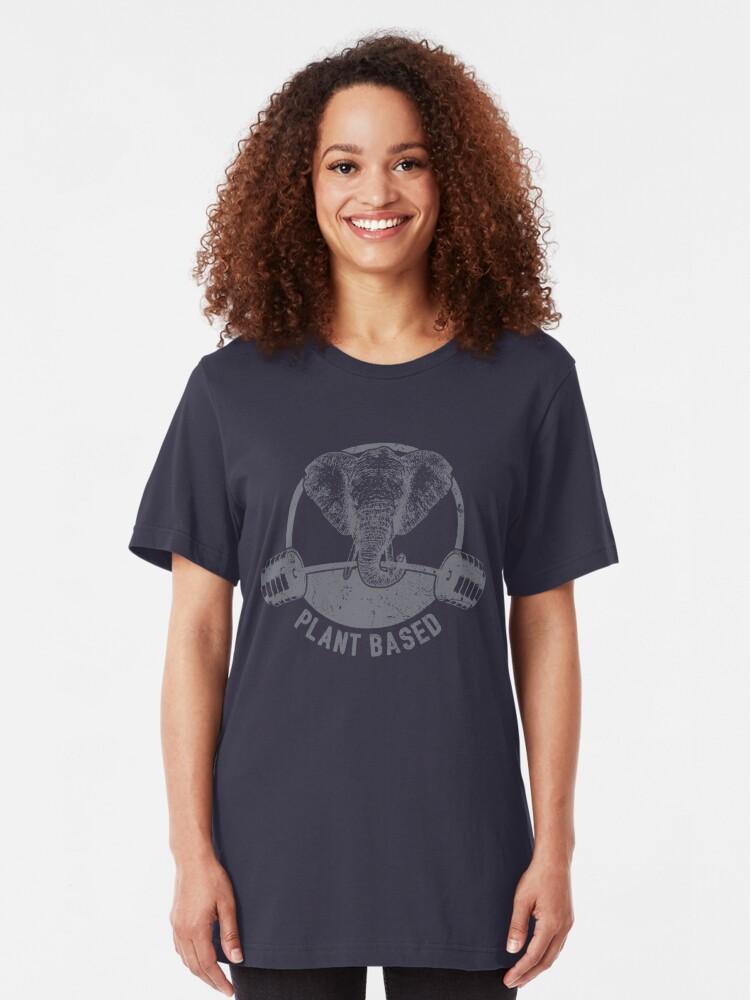 Alternative Ansicht von Plant Based Vegan Elephant - Funny Veganism Quote Gift Slim Fit T-Shirt