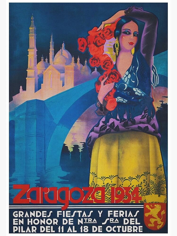 Zaragoza, Spain Festival from 1934 Vintage Travel Poster by vintagevivian