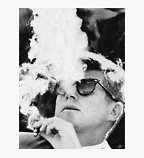 John F Kennedy Cigar and Sunglasses Black And White Photographic Print