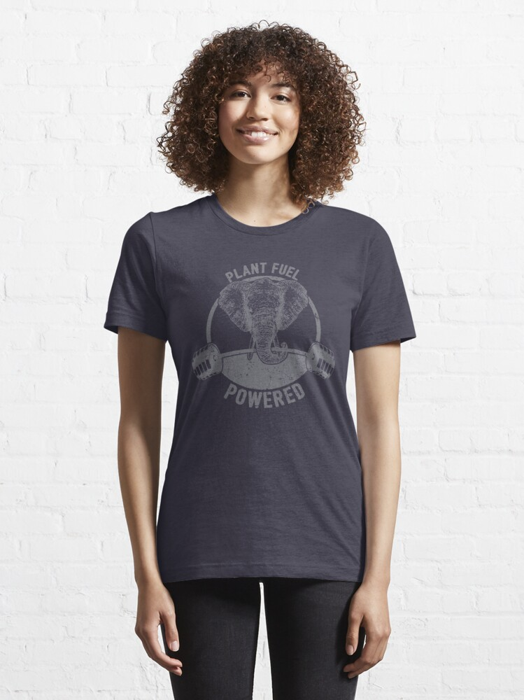 Alternate view of Plant Fuel Powered Vegan Elephant - Funny Veganism Quote Gift Essential T-Shirt
