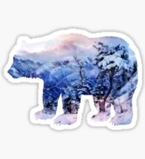 Winter in the mountains Sticker