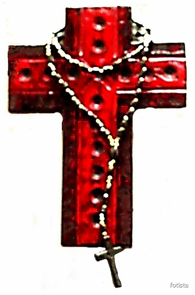 Cross with rosary by fotista
