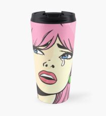 Pink Pop Art Crying Comic Girl Travel Mug