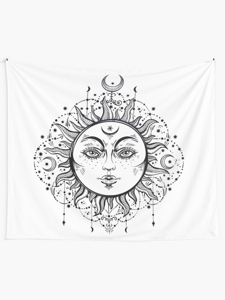 Alternate view of Vintage Sun with Stars and Moons Tapestry
