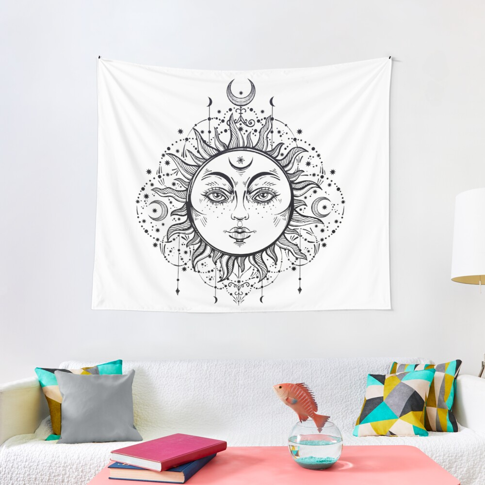 Vintage Sun with Stars and Moons Tapestry