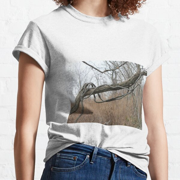 Late autumn, fallen tree, vines twist itself around  trunk of fallen tree, leaves flew Classic T-Shirt