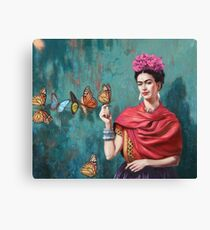 Frida Kahlo and Butterfly Paint Canvas Print