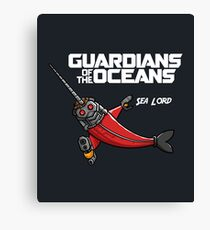 Guardians of the Oceans Sea Lord not Star, Funny Narwhal Movie Parody Canvas Print