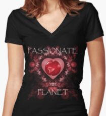 Passionate Planet Women's Fitted V-Neck T-Shirt