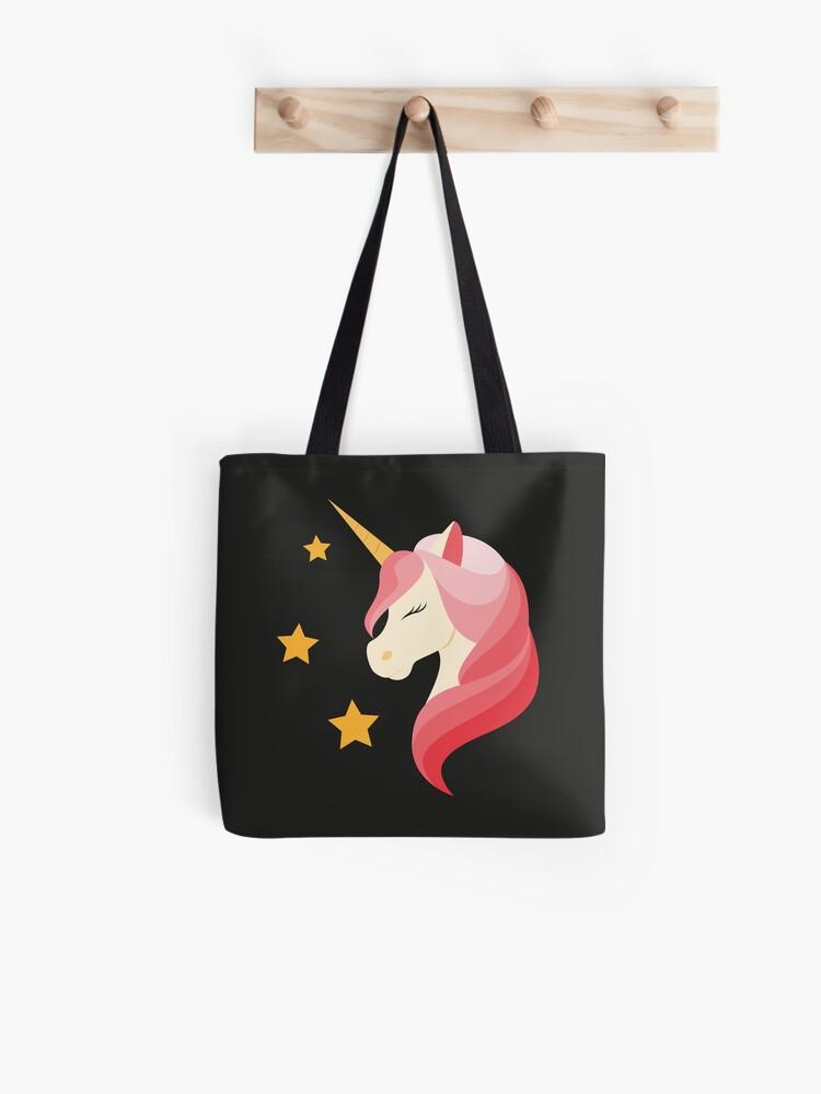 Unicorn Design Cotton Zip Up Shopping Bag Light Weight Shoulder Tote Handbag NEW
