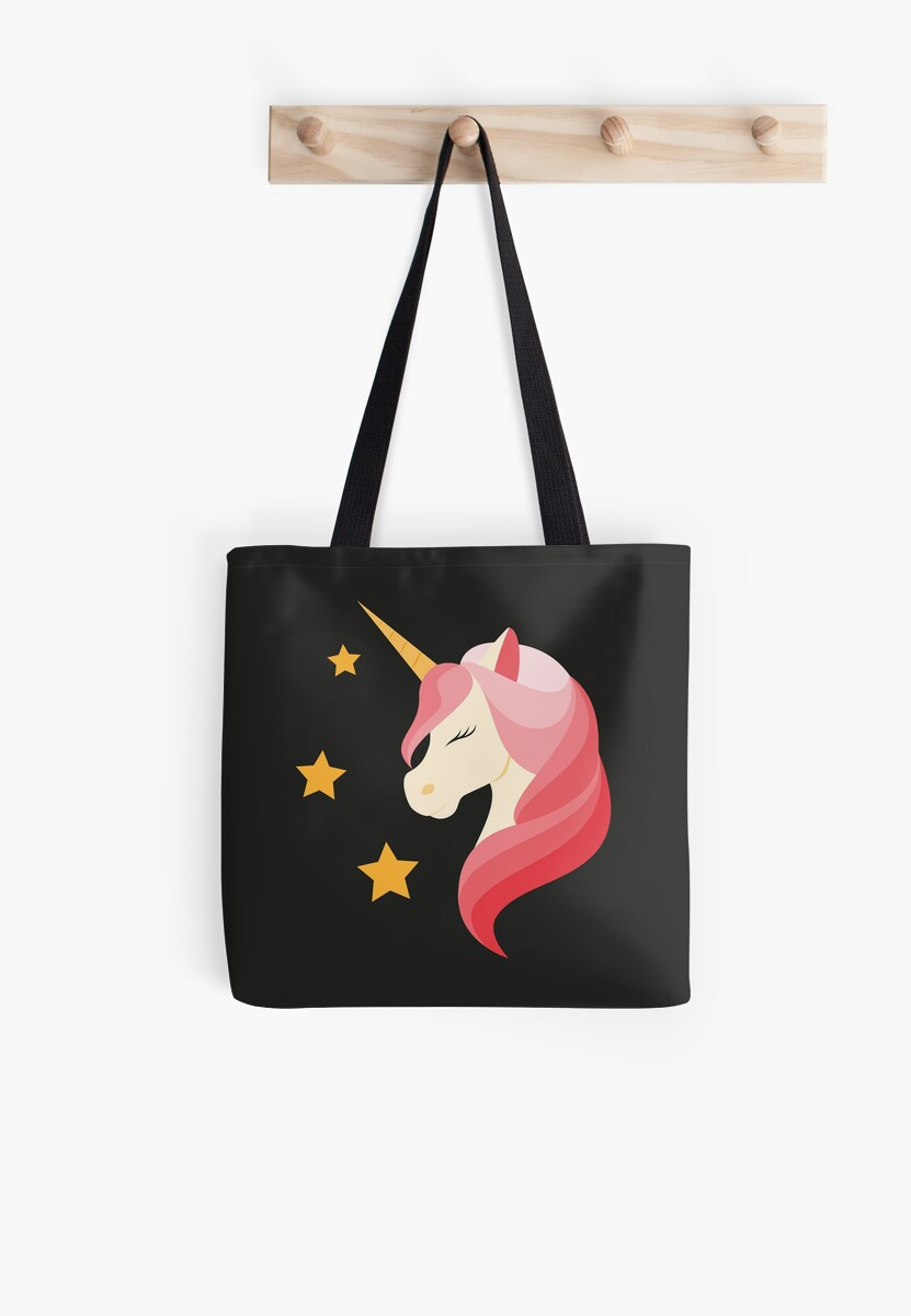 Unicorn with pink mane. Illustration on a black background. Flat design style. by Afone4ka