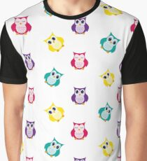 Owls. Seamless illustration on a white background. Flat design style Graphic T-Shirt