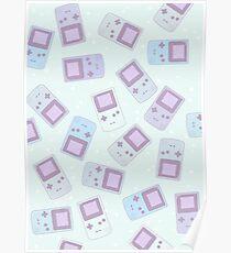 Kawaii Cute Pastel GameBoy Gamer Pattern Poster