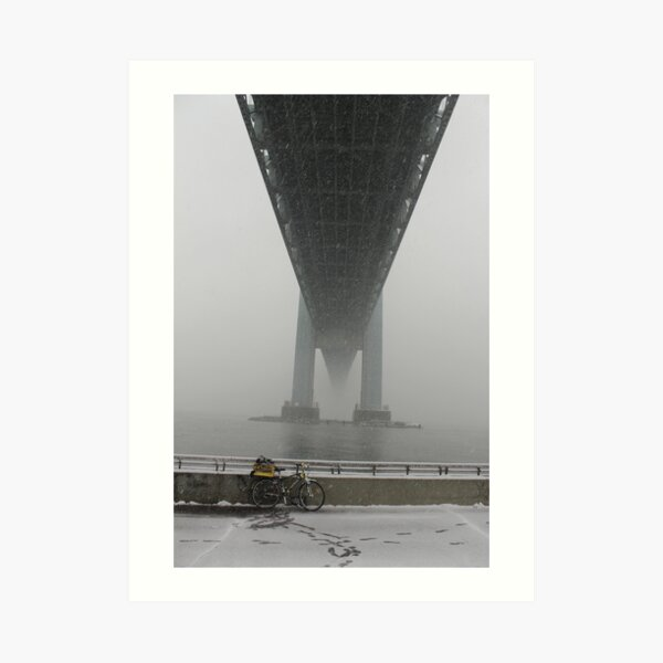 Verrazano Narrows Bridge view from Brooklyn. The first snow is falling. Art Print