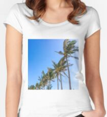 Palm Trees, Blue Sky Fitted Scoop T-Shirt