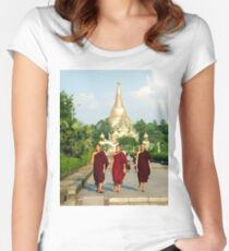 Three monks at Shwedagon Pagoda Women's Fitted Scoop T-Shirt