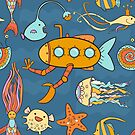 Yellow submarine and fantastic underwater world by Elsbet