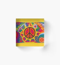 Psychedelic Flaming Peace Acrylic Block