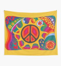 Psychedelic Flaming Peace Wall Tapestry