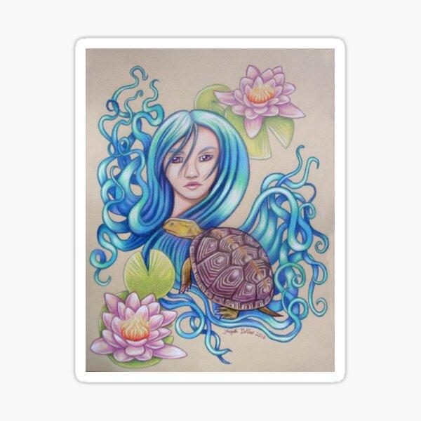 Blue Nova, Turtle Colored Pencil Drawing Sticker