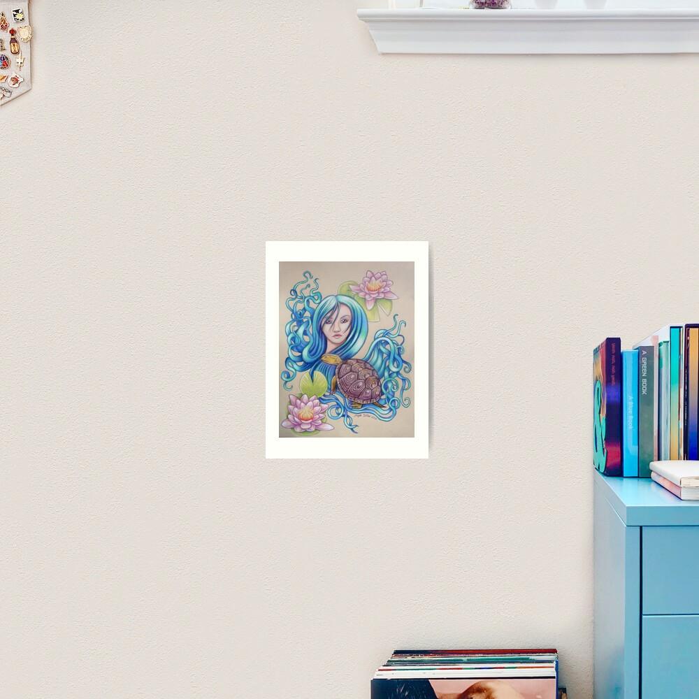Blue Nova, Turtle Colored Pencil Drawing Art Print