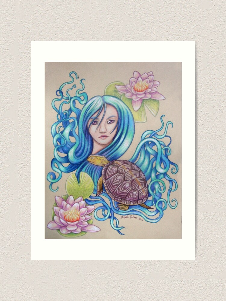 Alternate view of Blue Nova, Turtle Colored Pencil Drawing Art Print