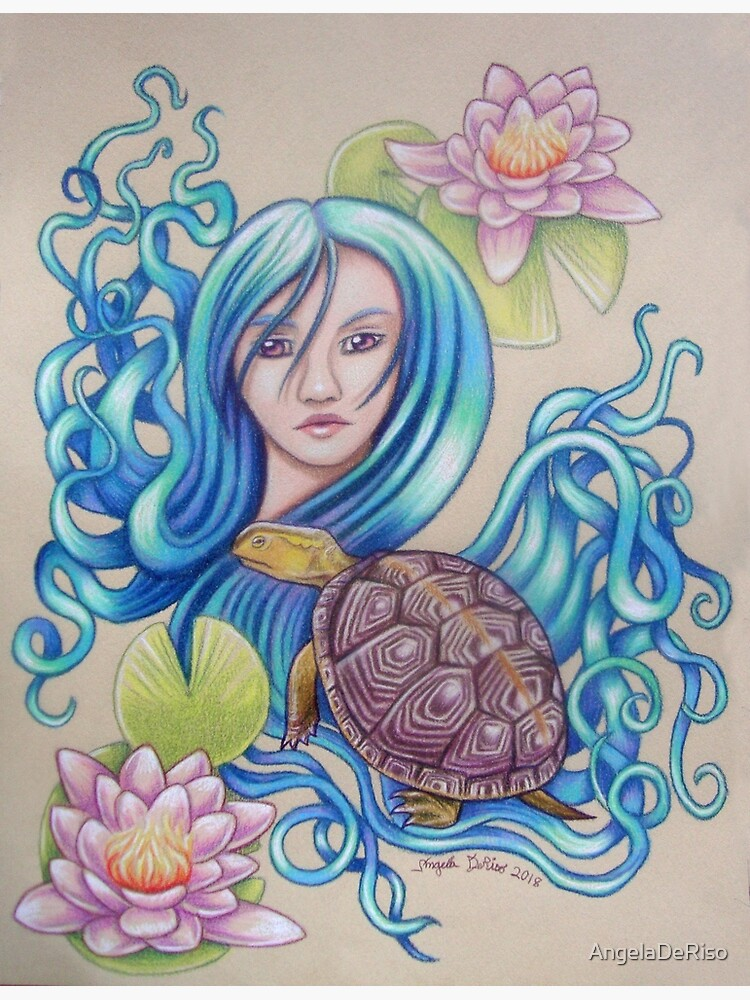 Blue Nova, Turtle Colored Pencil Drawing by AngelaDeRiso