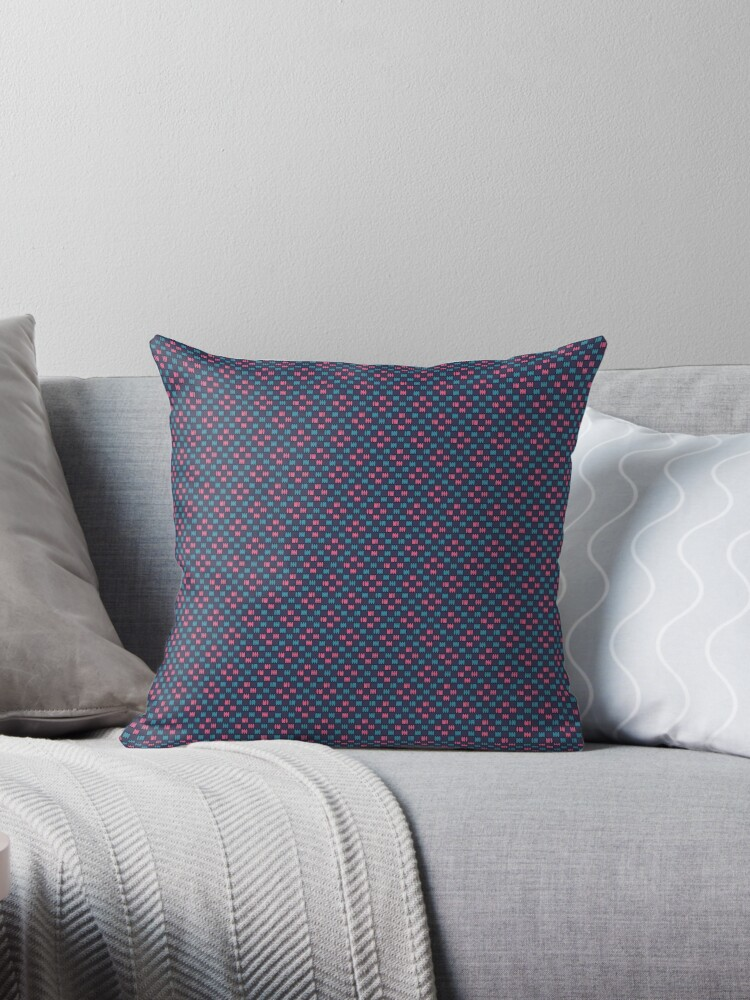 Robins Egg Blue and Hot Pink Faux Weave on Ultra Violet Retro Pattern by coverinlove