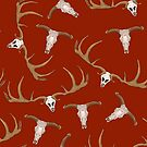 Skull on a red background by Elsbet