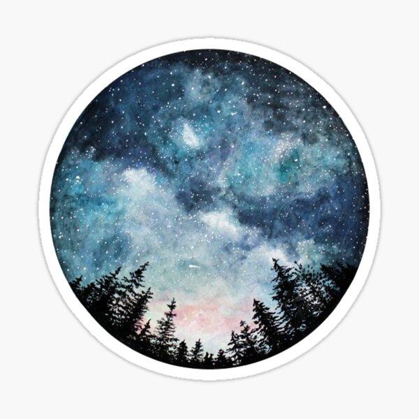 Aquarell-Wald-Kreis Sticker