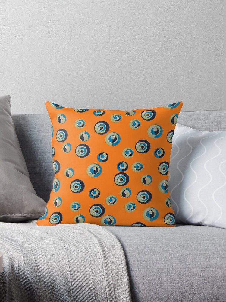 Light Green, Sky Blue and Black Dots on Orange Retro Pattern by coverinlove