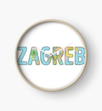 Zagreb World Map - Cool Croatia Traveler Gift Uhr